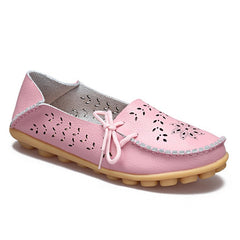 Pink Genuine Leather Slip On Closure Loafer Shoe For Women