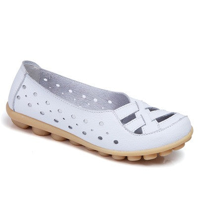 White Genuine Leather Solid Pattern Round Toe Loafer Flat Shoe For Women
