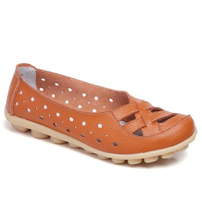 Orange Genuine Leather Solid Pattern Round Toe Loafer Shoe For Women