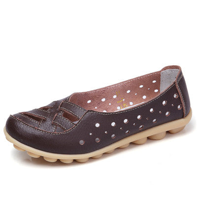 Dark Brown Genuine Leather Solid Pattern Round Toe Loafer Shoe For Women