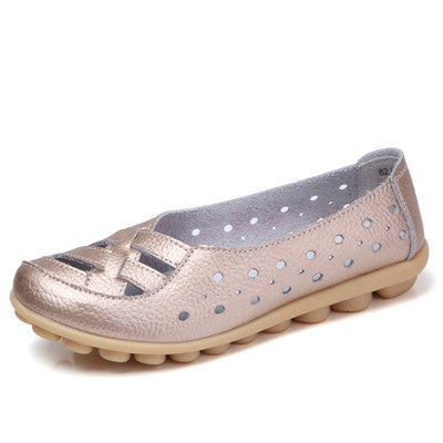 Burlywood Genuine Leather Solid Pattern Round Toe Loafer Shoe For Women