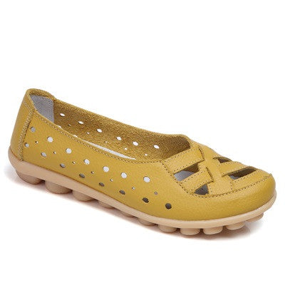 Yellow Genuine Leather Solid Pattern Round Toe Loafer Shoe For Women
