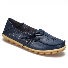 Dark Blue Genuine Leather Slip On Closure Loafer Shoe For Women
