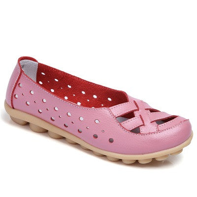 Pink Genuine Leather Solid Pattern Round Toe Loafer Shoe For Women