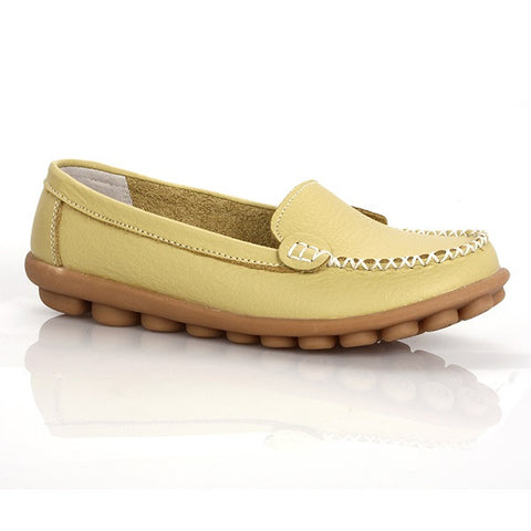 Light Yellow Round Toe Eva Insole Genuine Leather Loafer Shoe For Women