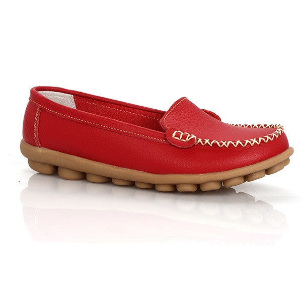 Red Round Toe Eva Insole Genuine Leather Loafer Shoe For Women