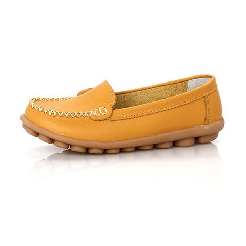 Yellow Round Toe Eva Insole Genuine Leather Loafer Shoe For Women