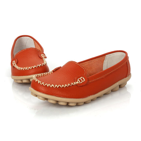 Dark Orange Round Toe Eva Insole Genuine Leather Loafer Shoe For Women