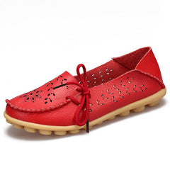 Red Genuine Leather Slip On Closure Loafer Shoe For Women