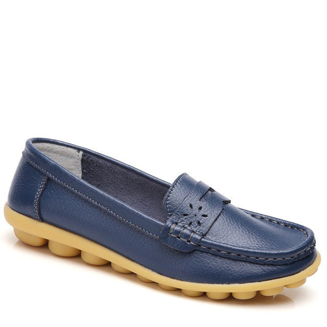 Blue Genuine Leather Pointed Toe Eva Insole Loafer Shoe For Women