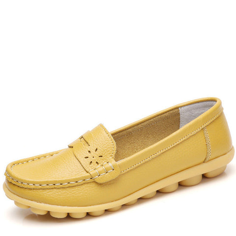 Yellow Genuine Leather Pointed Toe Eva Insole Loafer Shoe For Women