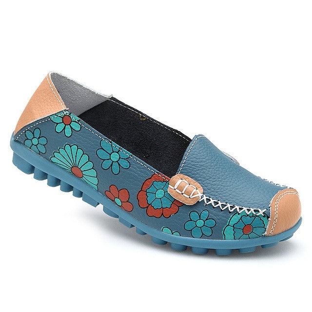 Sky Blue Genuine Leather Mixed Color Pattern Loafer Shoe For Women