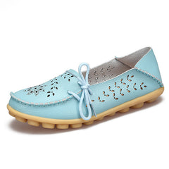 Light Sky Blue Genuine Leather Slip On Closure Loafer Shoe For Women