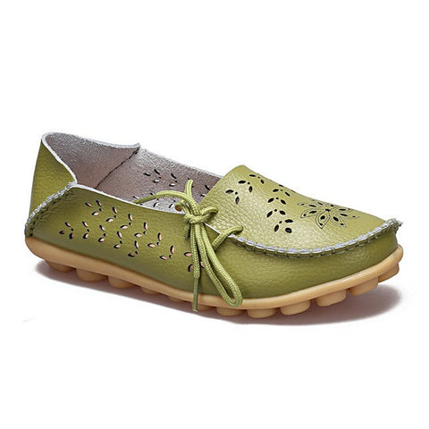 Light Green Genuine Leather Slip On Closure Loafer Shoe For Women