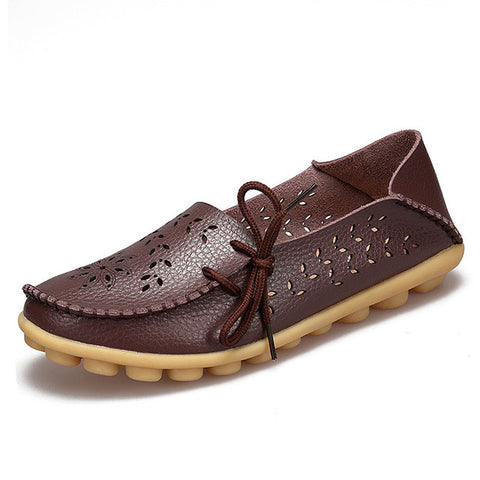 Dark Brown Genuine Leather Slip On Closure Loafer Shoe For Women