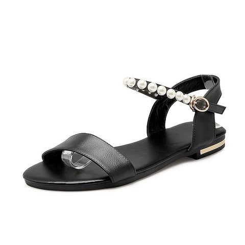 Black Genuine Leather Solid Pattern Buckle Strap Pattern Sandals For Women