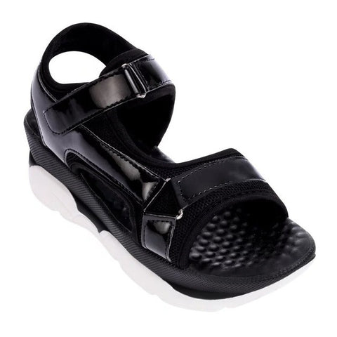 Black Gladiator Pattern PU Insole Wedges Heel Sandals For Women