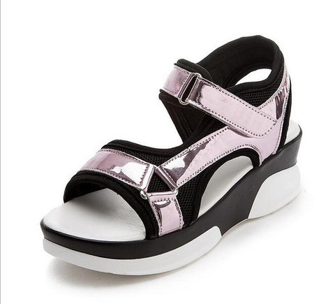 Pink Gladiator Pattern PU Insole Wedges Heel Sandals For Women