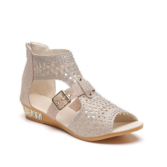 Beige Solid Pattern Cover Heel Zipper Closure Pattern Sandals For Women