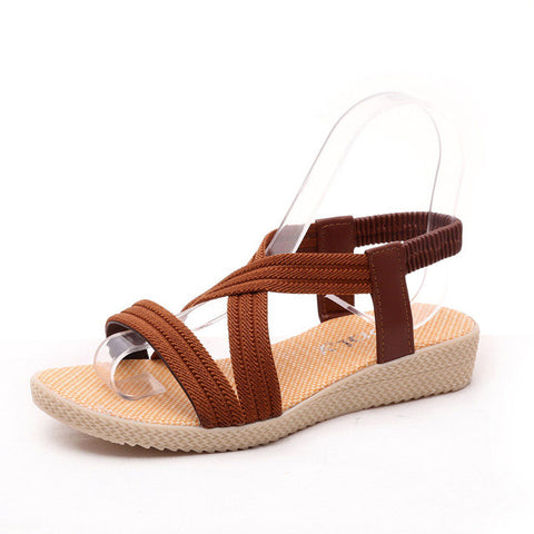 Brown Open Side Vamp Slip-On Closure Patchwork Pattern Sandals For Women