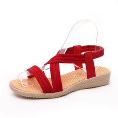 Red Open Side Vamp Slip-On Closure Patchwork Pattern Sandals For Women