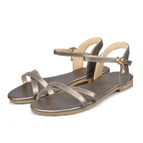 Grey Genuine Leather Solid Pattern Open Side Vamp Sandals For Women