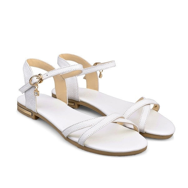 White Genuine Leather Solid Pattern Open Side Vamp Sandals For Women