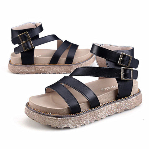 Black Buckle Strap Closure Genuine Leather Latex Insole Sandals For Women