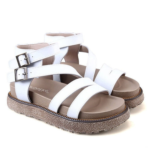 White Buckle Strap Closure Genuine Leather Latex Insole Sandals For Women