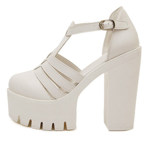 White Nubuck Leather Solid Pattern Cover Heel Sandals For Women