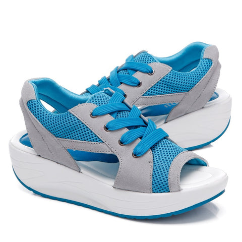 Sky Blue Air Mesh Rubber Outsole Lace-Up Closure Sandals For Women