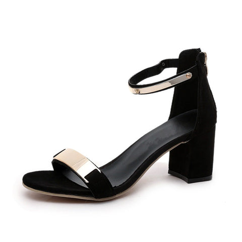 Black Solid Pattern Zipper Closure Metal Deco Cover Heel Sandals For Women