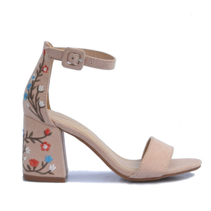 Floral Pattern Open Side Vamp Ankle Strap Square Heel Sandals For Women