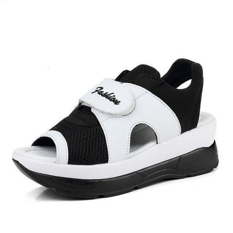 White Black Mix Glitter Deco Gladiator Breathable Cotton Lining Sandals For Women