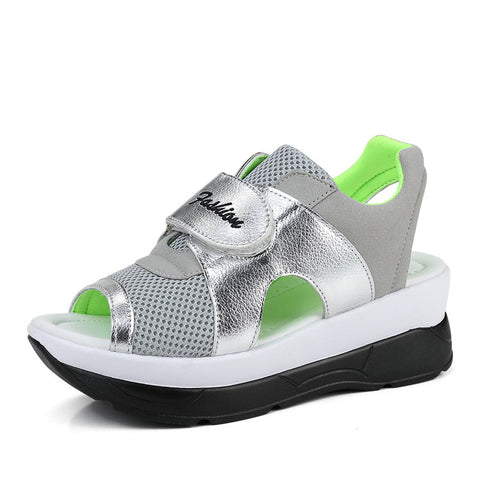 Grey Glitter Deco Gladiator Breathable Cotton Lining Sandals For Women