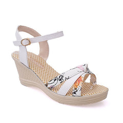 White Patent Leather Cut-Out Decoration Buckle Strap Closure Sandals For Women