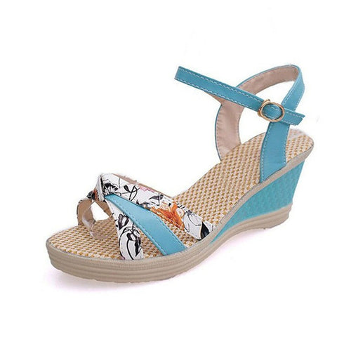 Patent Leather Cut-Out Decoration Buckle Strap Closure Sandals For Women