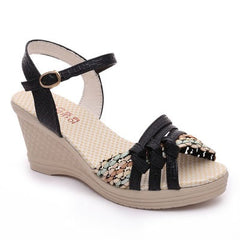 Black Patent Leather Cut-Out Decoration Buckle Strap Closure Sandals For Women