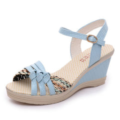 Sky Blue Patent Leather Cut-Out Deco Buckle Strap Closure Sandals For Women