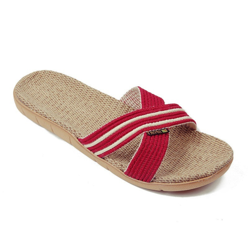 Red Geometric Deco Synthetic Lining Eva Outsole Slippers Flip-Flop For Women