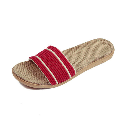 Light Red Geometric Deco Synthetic Lining Eva Outsole Slippers Flip-Flop For Women