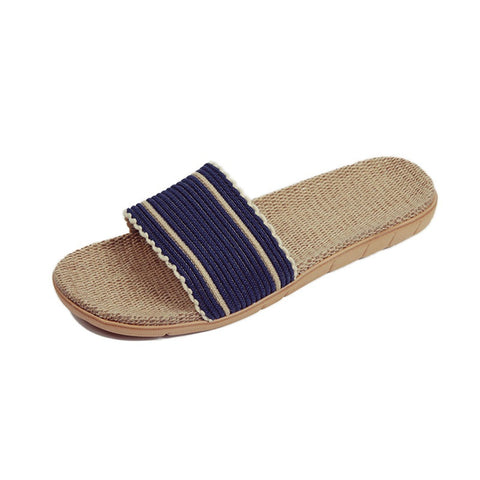 Blue Geometric Deco Synthetic Lining Eva Outsole Slippers Flip-Flop For Women
