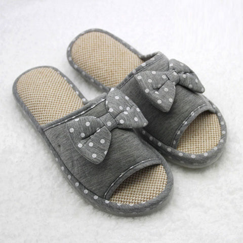 Polka Dot Floral Pattern Bow-Tie Deco Eva Insole Slippers Flip-Flop For Women