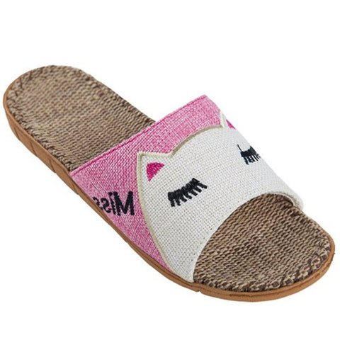 Pink Animal Print Synthetic Lining Eva Outsole Slippers Flip-Flop For Women