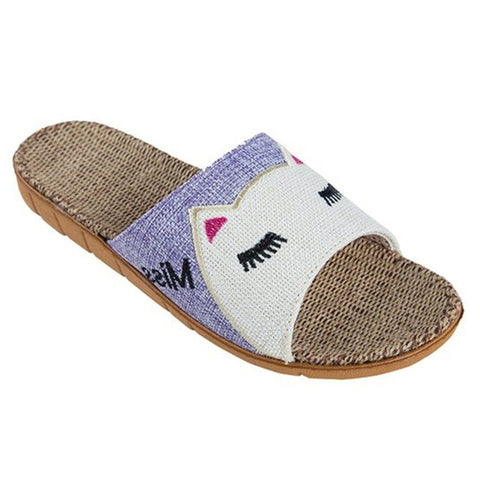 Purple Animal Print Synthetic Lining Eva Outsole Slippers Flip-Flop For Women