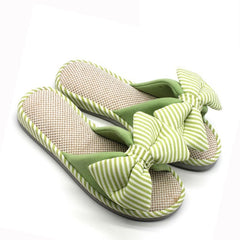 Light Green Floral Pattern Bow-Tie Deco Eva Insole Slippers Flip-Flop For Women