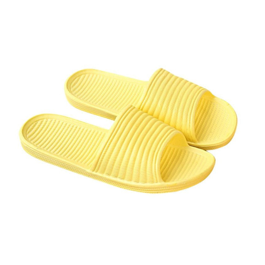 Yellow Solid Pattern PVC Lining Eva Insole Slippers Flip-Flop For Women