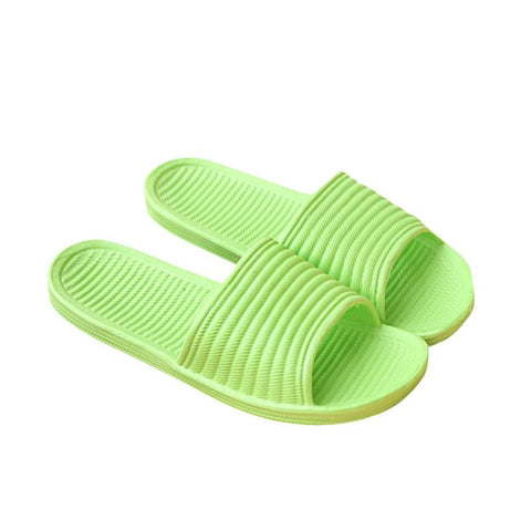Green Solid Pattern PVC Lining Eva Insole Slippers Flip-Flop For Women
