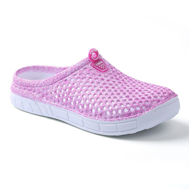 Pink Breathable Solid Pattern Croc Eva Insole Slippers Flip-Flop For Women