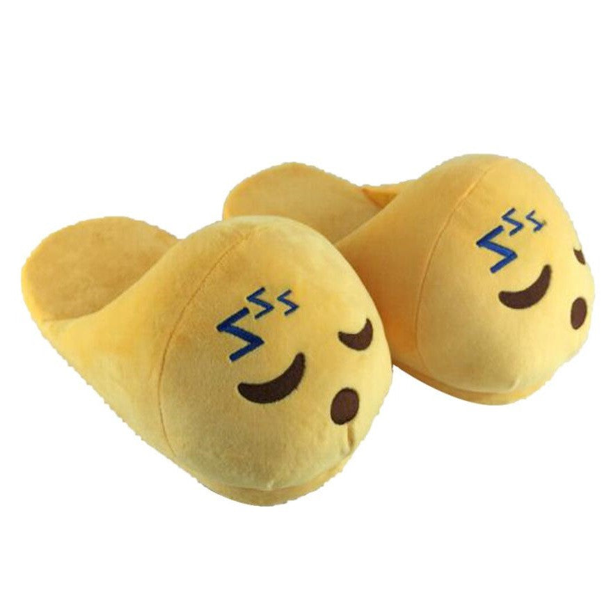 Yellow Plain Deco Plush Lining Latex Insole Slippers Flip-Flop For Women